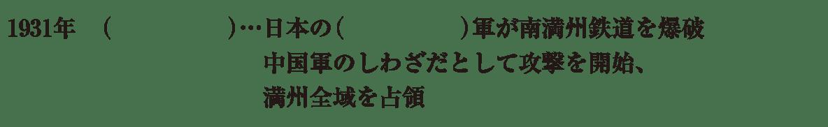 中学歴史58 練習1 最初の3行(1931年~満州全域を占領まで)のみ表示、カッコ空欄