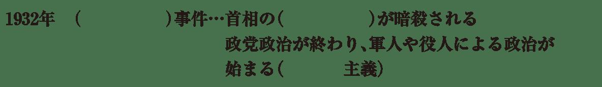 中学歴史58 練習2 最初の3行(1932年~軍国主義まで)のみ表示、カッコ空欄