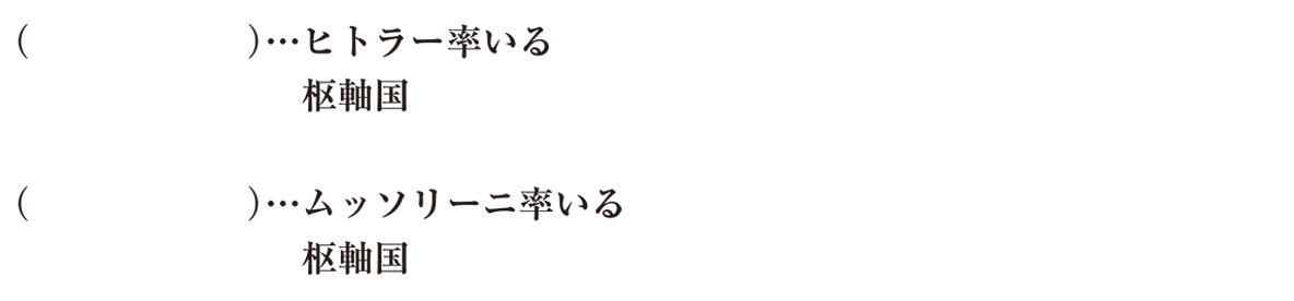 中学歴史60 練習1 右側のテキスト(ドイツとイタリアの4行)のみ表示、カッコ空欄、左ツメ