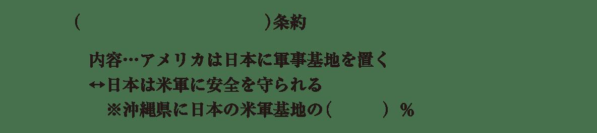中学歴史64 練習3 残りの4行(日米安全保障条約~)のみ表示、カッコ空欄