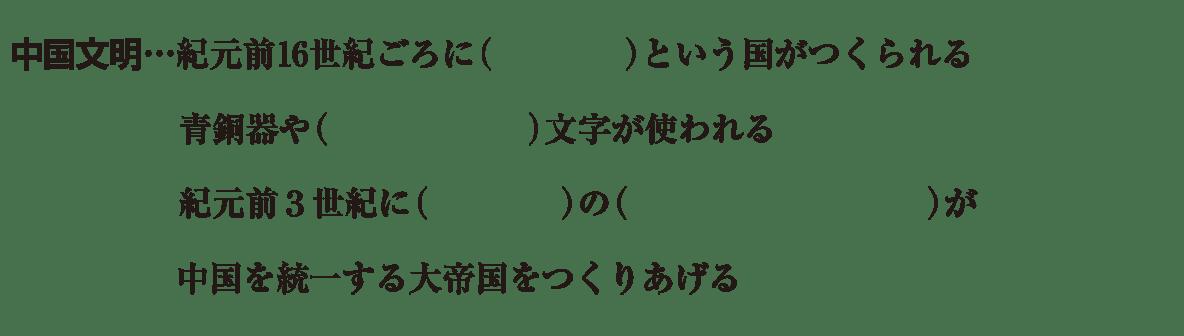 中学歴史2 練習2 下半分の中国文明の部分のみ表示(上部不要) 空欄