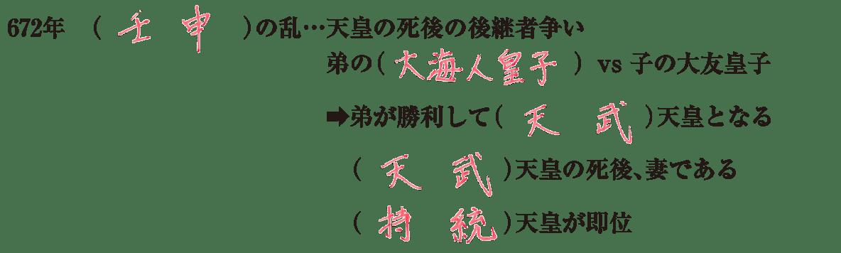 中学歴史8 練習3 上5行(持統天皇まで)のみ表示、答え入り