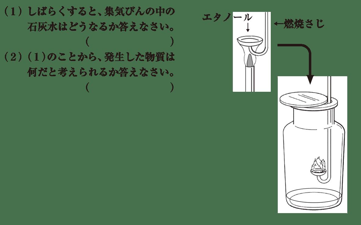 中1 理科化学5 練習1 右のイラストと(1)(2)問題文