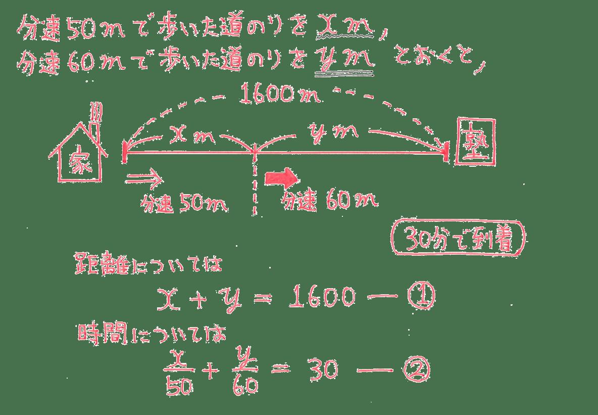 中2 数学104 例題 解答 時間についての式の終わりの「-②」まで