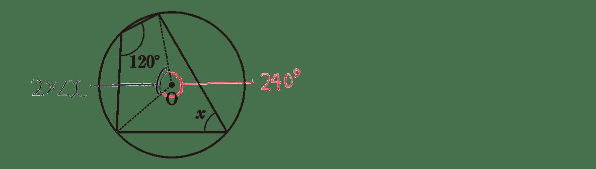 中3 数学245 練習(1)の答え 問題の図に角度を書き込んだもの