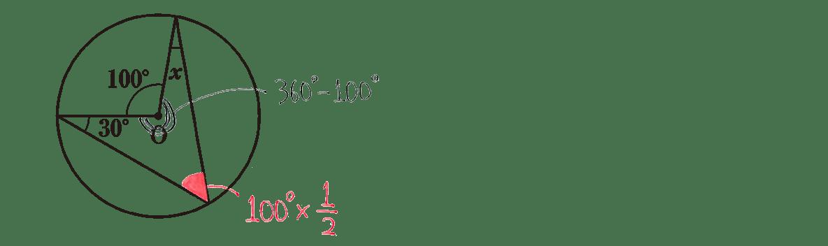中3 数学245 練習(3)の答え 問題の図に角度を書き込んだもの