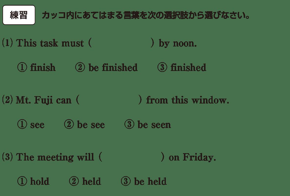 受動態4の練習(1)(2)(3)
