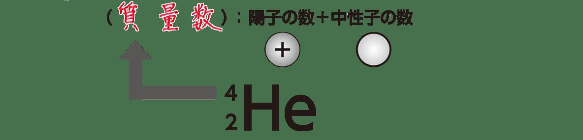 高校 理科 化学基礎16 ポイント2 「4」「2」「He」と上半分 答えあり