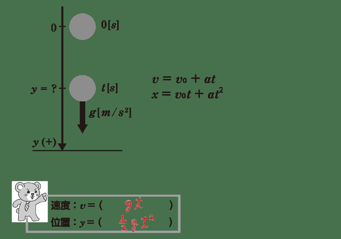 運動と力10のポイント2 ポイント内の2行分の式のみ