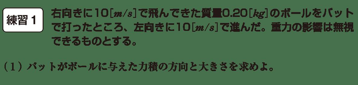 高校物理 運動と力59 練習1 問題文と(1)