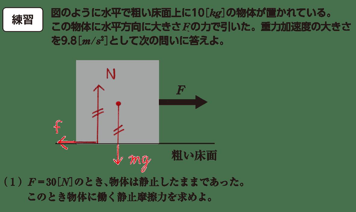 運動と力30の練習 問題文と図(赤入り)と(1)