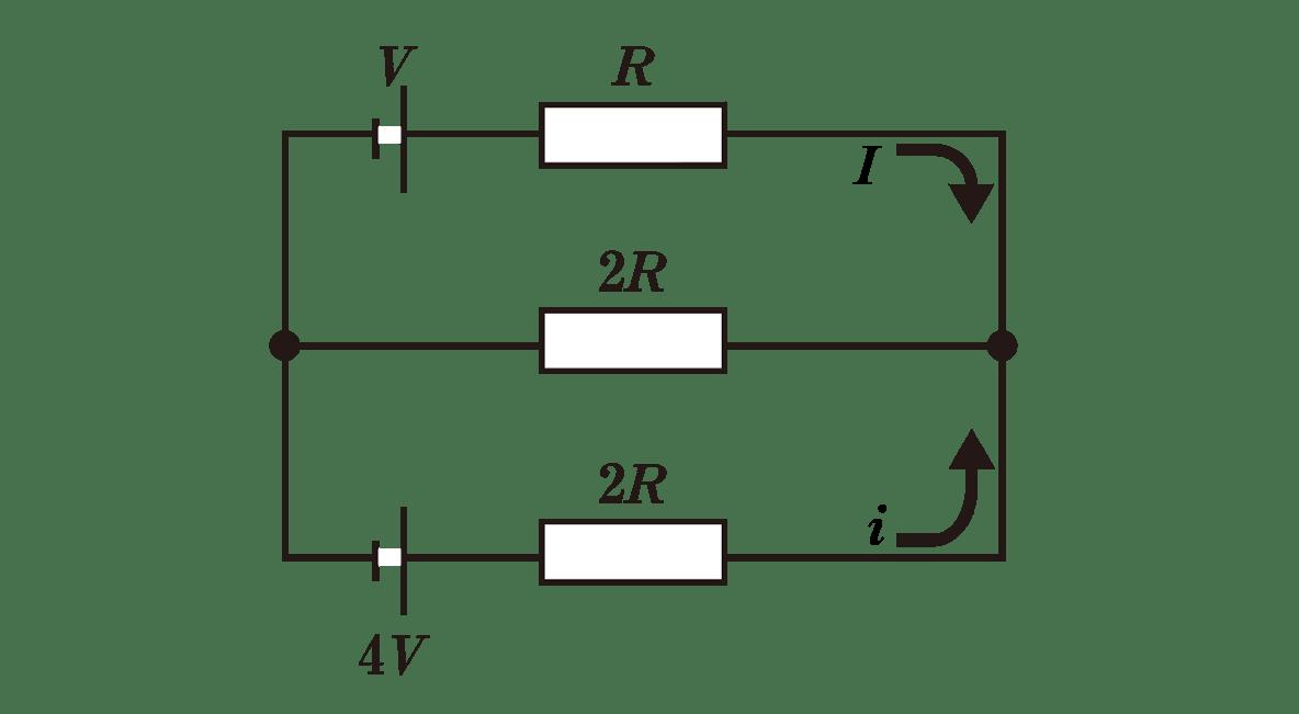 高校物理 電磁気32 ポイント1 図 上の矢印とその横にI、下の矢印とその横にiと入れる