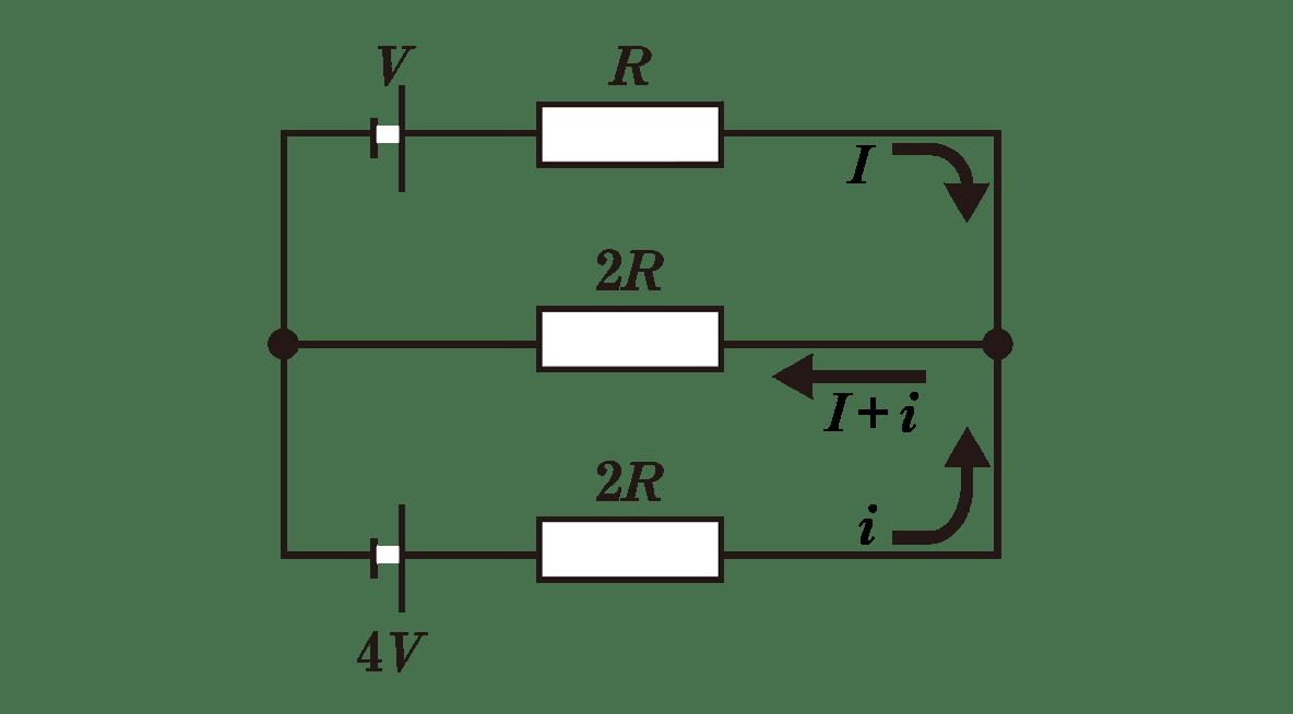 高校物理 電磁気32 ポイント1 図 上の矢印とその横にI、下の矢印とその横にi、真ん中の矢印にI+iと入れる