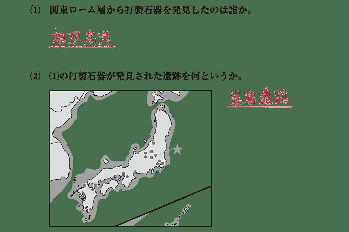旧石器文化2 問題2(1)(2) 地図含む答え入り