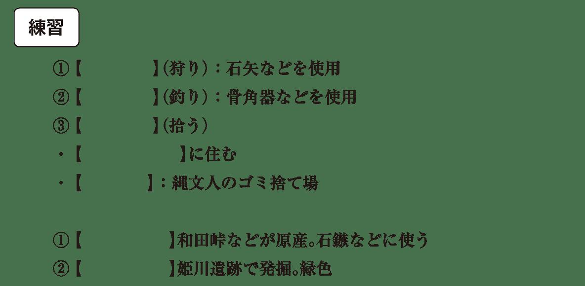 縄文時代1 練習 カッコ空欄