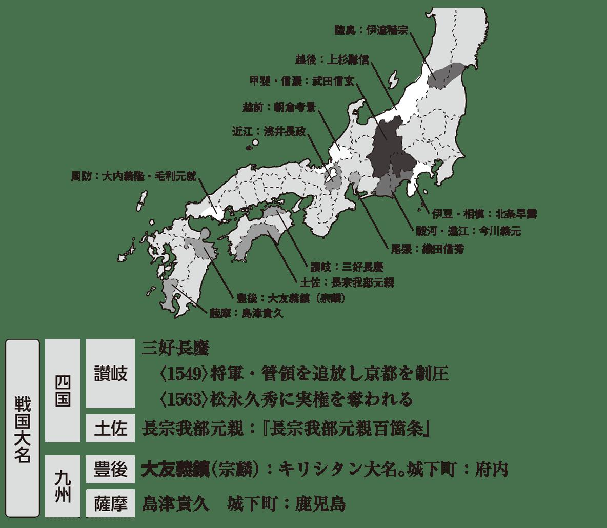 中世38 ポイント4 全体地図+戦国大名(四国・九州)