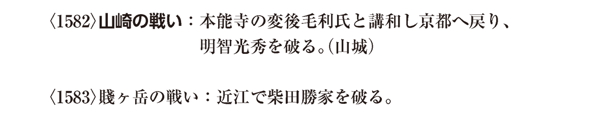 近世7 ポイント1 山崎+賤ヶ岳の戦い