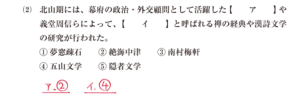 中世の文化24 問題1(2) 解答