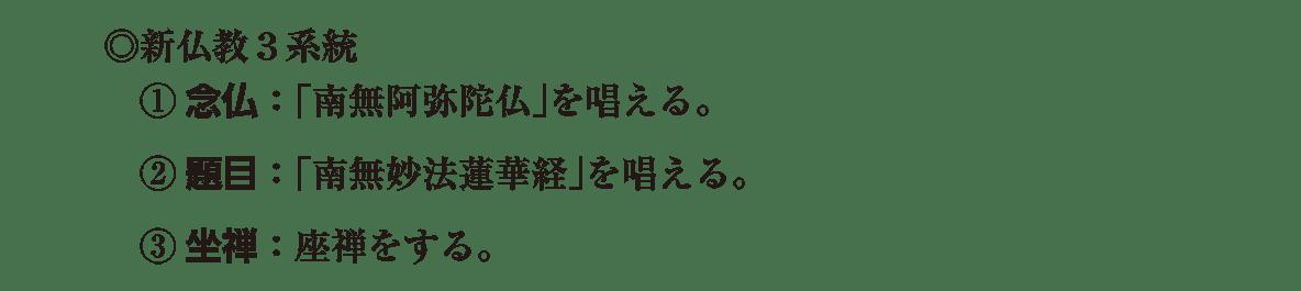 中世の文化4 ポイント2 「◎新仏教3系統~」の部分