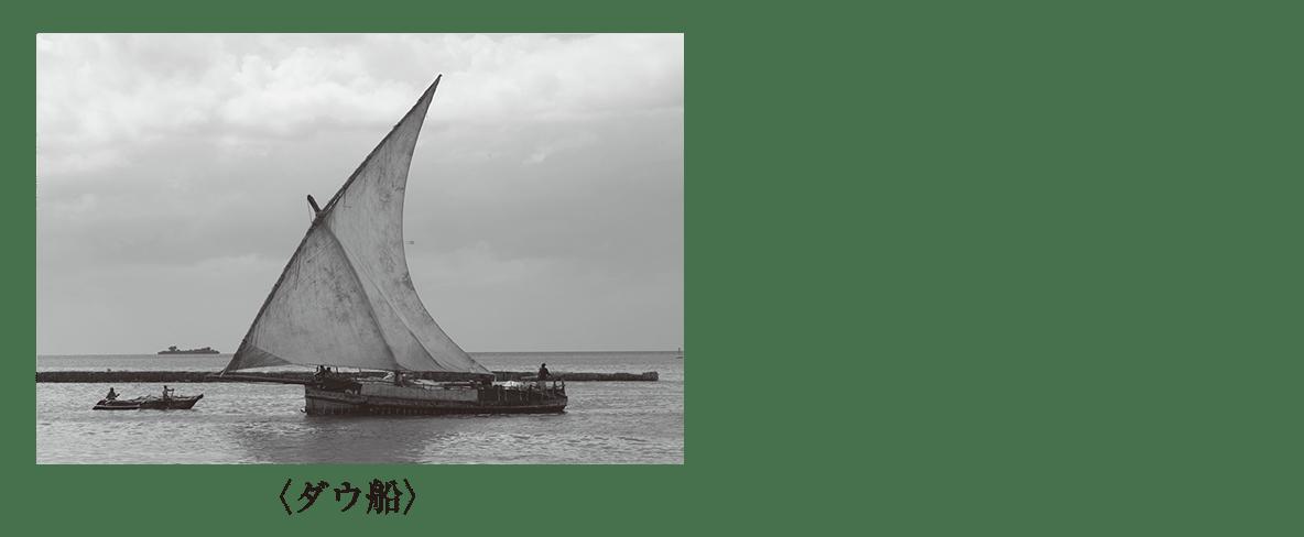 高校世界史 イスラーム世界3 ポ2 ダウ船の写真+キャプション真下に