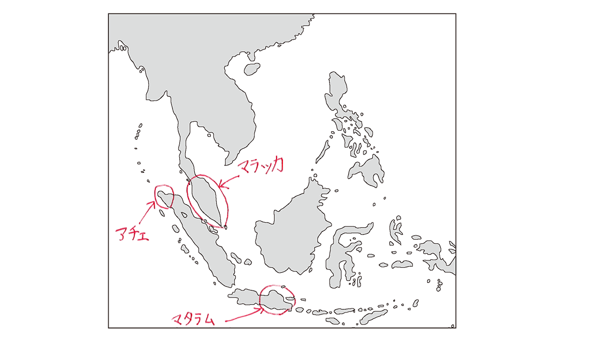 高校世界史 イスラーム世界5 ポ2 東南アジア地図のみ/書き込みあり