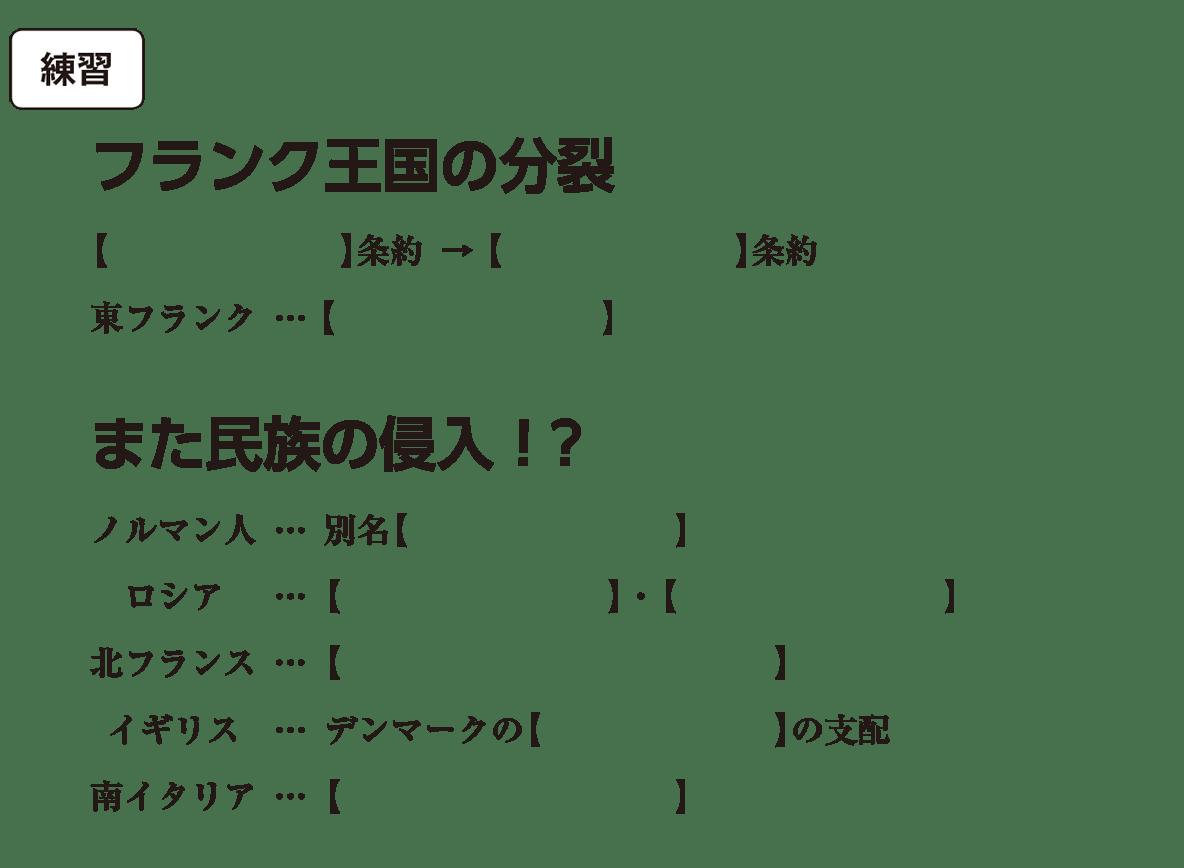 高校世界史 中世ヨーロッパ世界の成立3 練習 括弧空欄