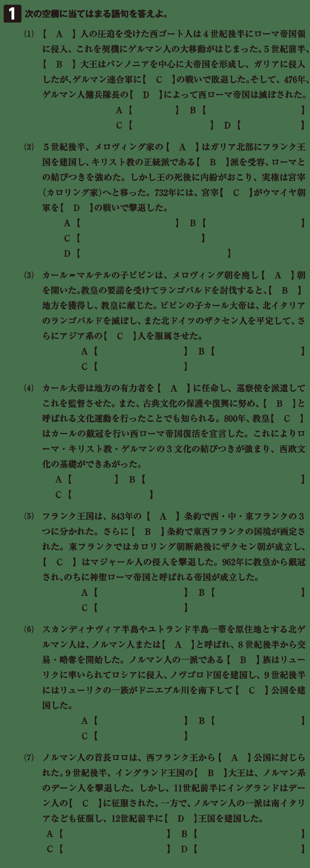 高校世界史 中世ヨーロッパ世界の成立5 確認テスト(前半)