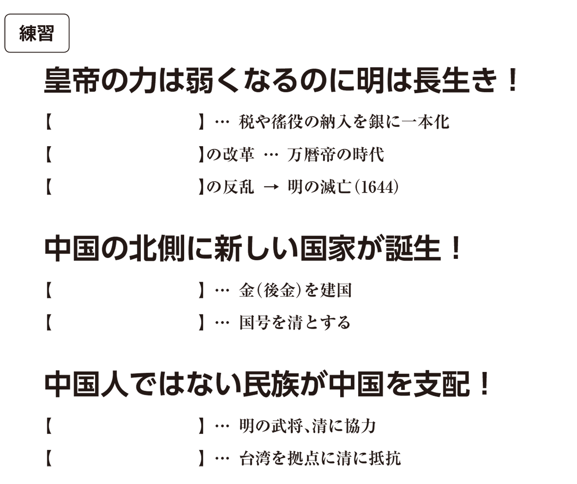高校世界史 明・清の時代3 練習 括弧空欄