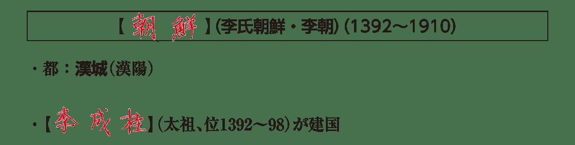 ポ2後半/「朝鮮」の見出し+下部テキスト2行/李成桂の説明まで