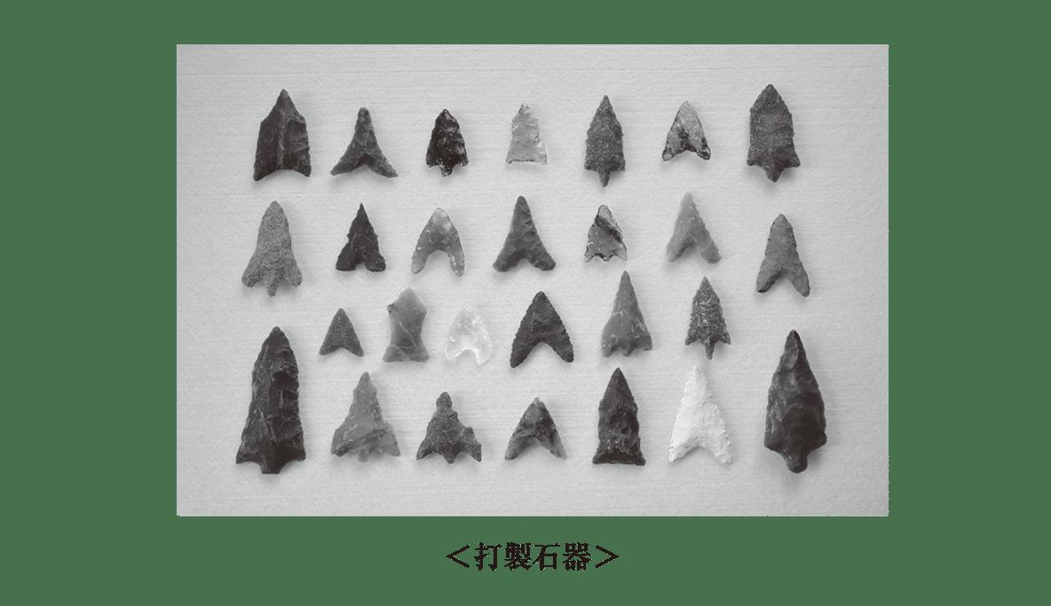 高校世界史 先史時代1 ポイント2 下段の打製石器の図のみ、上半分は不要