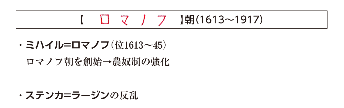 「ロマノフ朝」の見出し+テキスト3行