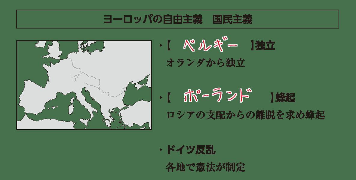 「ヨーロッパの自由主義~」見出し+地図+テキスト6行/~各地で憲法が制定