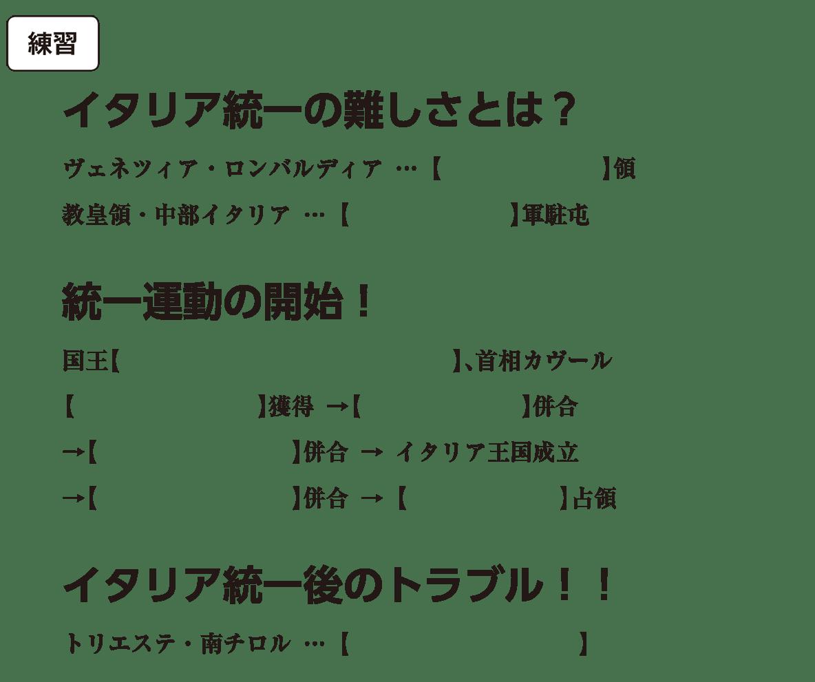 高校世界史 19世紀の欧米諸国(1)英・仏・伊・独4 練習 括弧空欄