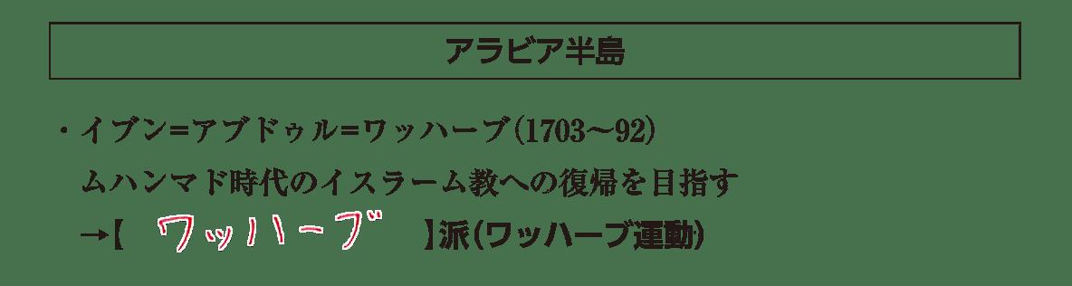 「アラビア半島」見出し+テキスト3行/~(ワッハーブ運動)
