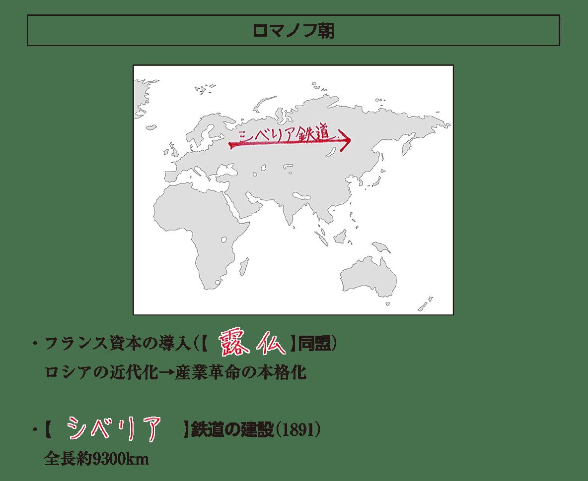 「ロマノフ朝」見出し+地図+テキスト4行