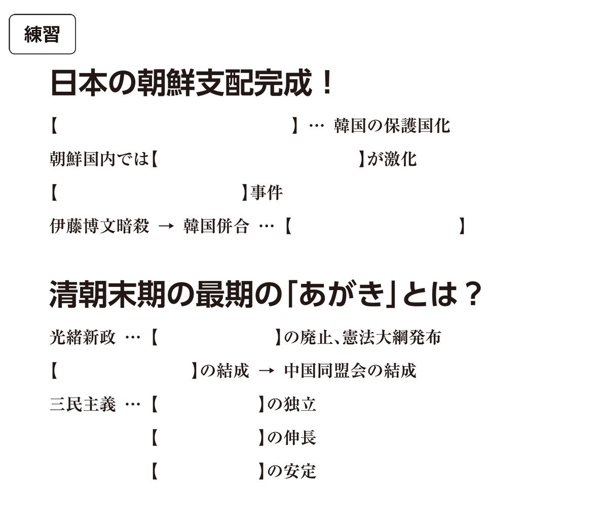 帝国主義と東アジア3 練習 括弧空欄