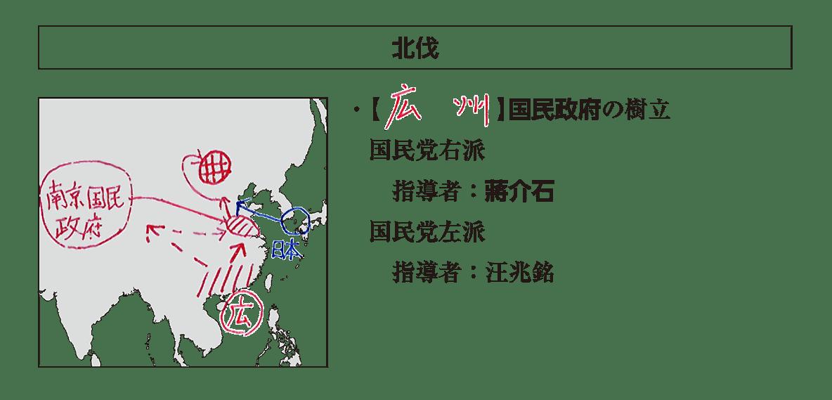 「北伐」見出し+地図+テキスト5行/~汪兆銘