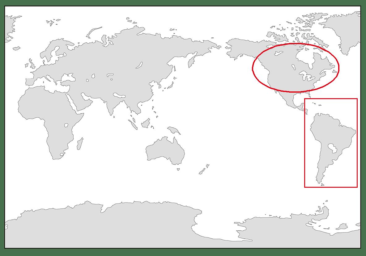 ppt参照/アメリカを〇で、ラテンアメリカを□で囲ってください