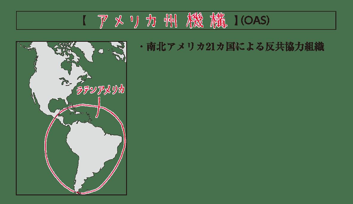 「アメリカ州機構」見出し+地図+テキスト