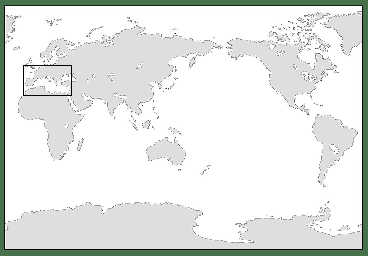 高校世界史 ローマ世界0/世界地図を枠で囲う/ppt参照