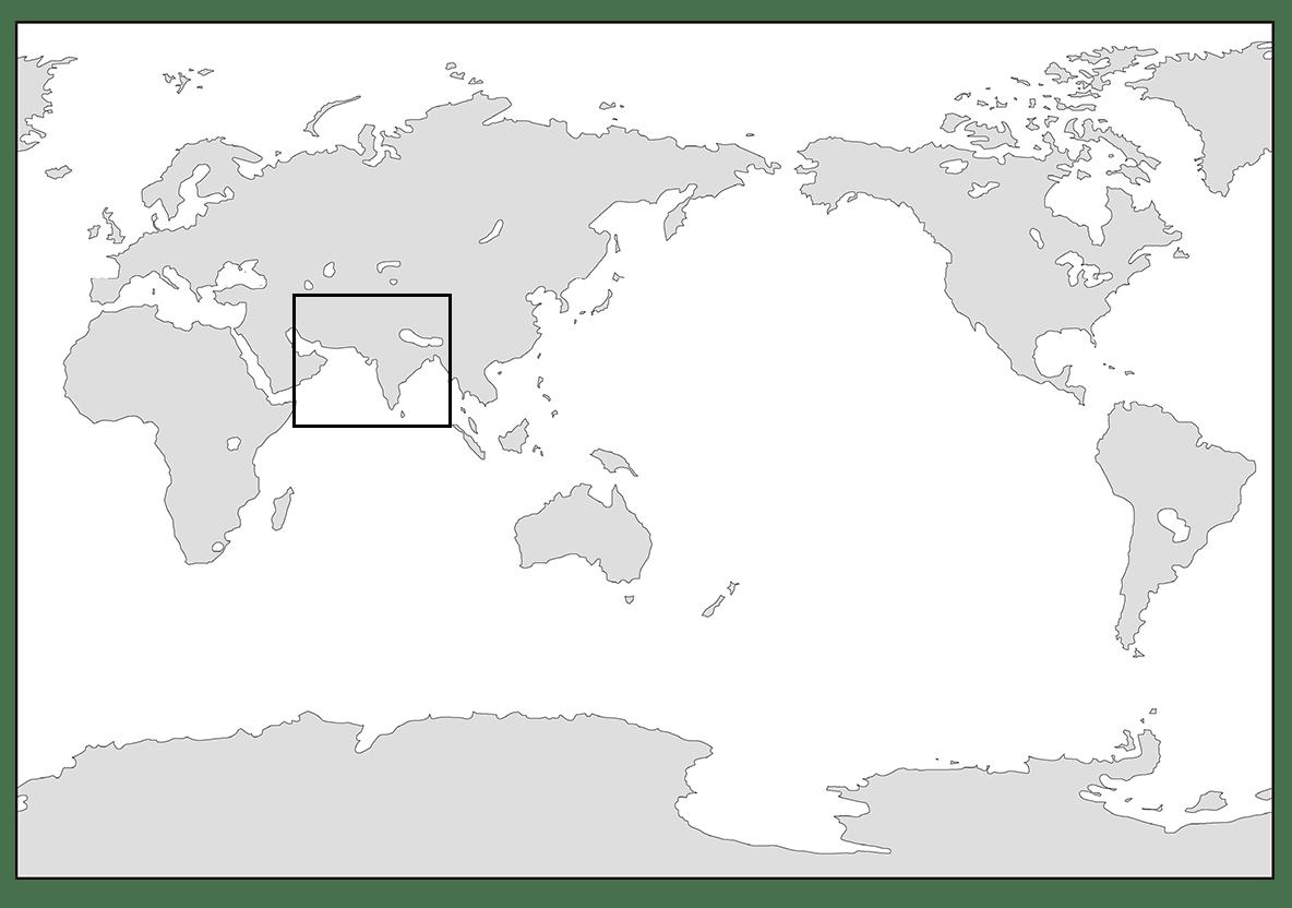 高校世界史 インドの古典文明0/世界地図を枠で囲う/ppt参照