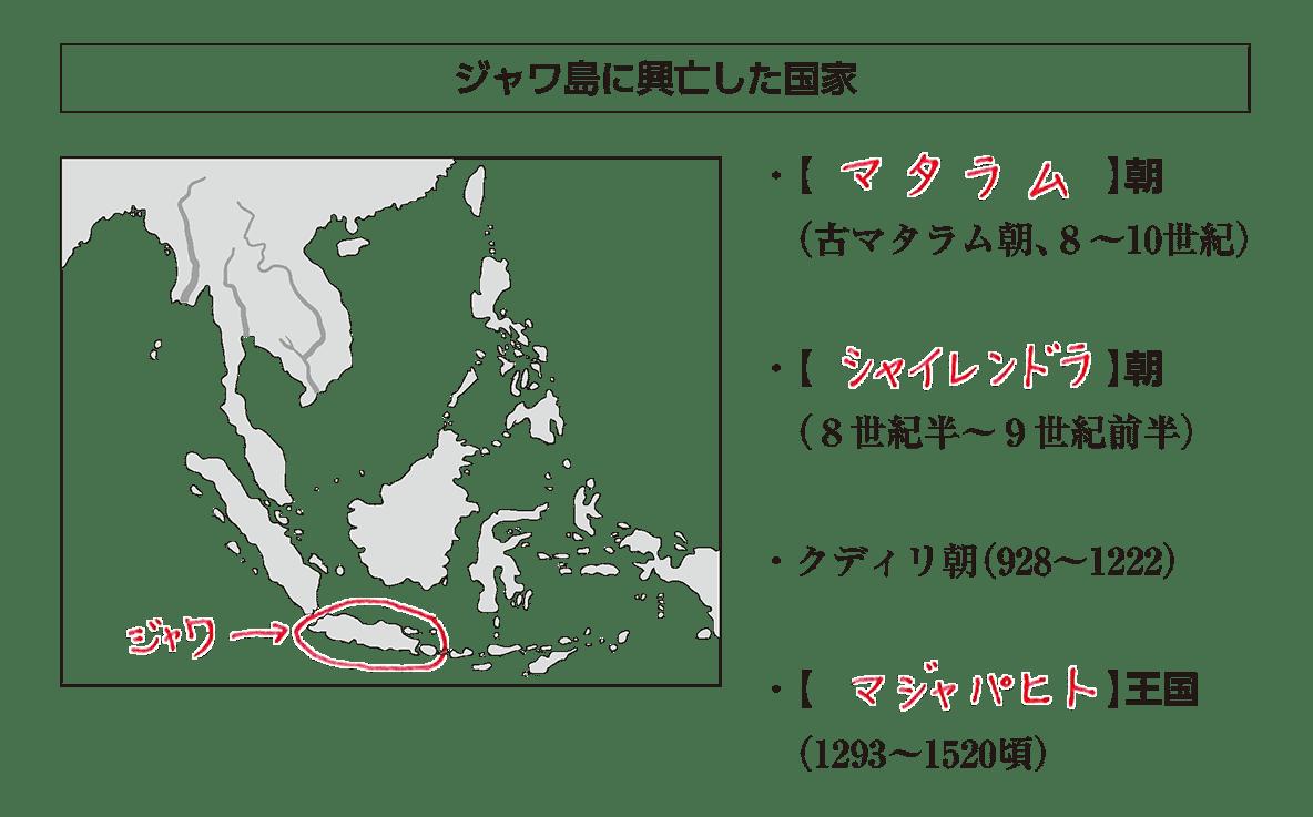 高校世界史 東南アジア前近代史3 ポイント1後半/ジャワ島に興亡した国家/答えアリ