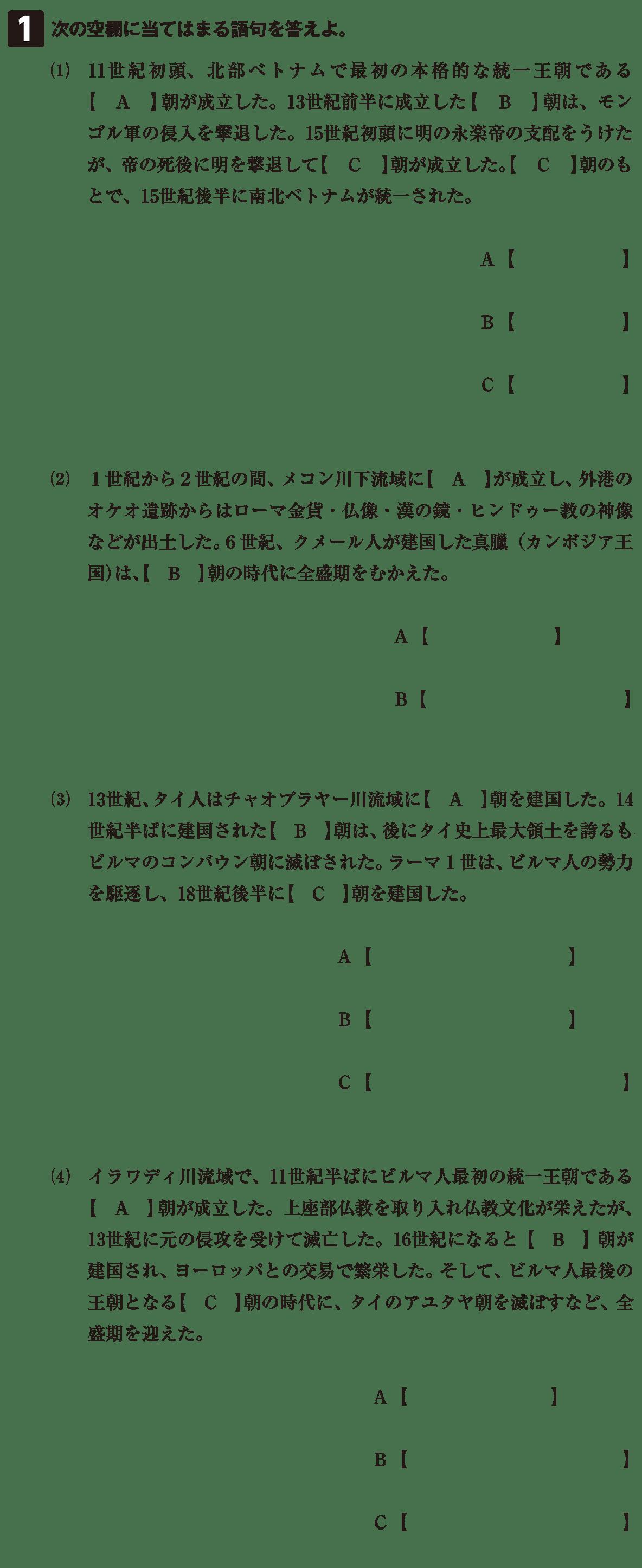 高校世界史 東南アジア前近代史4 確認テスト(前半)答えなし