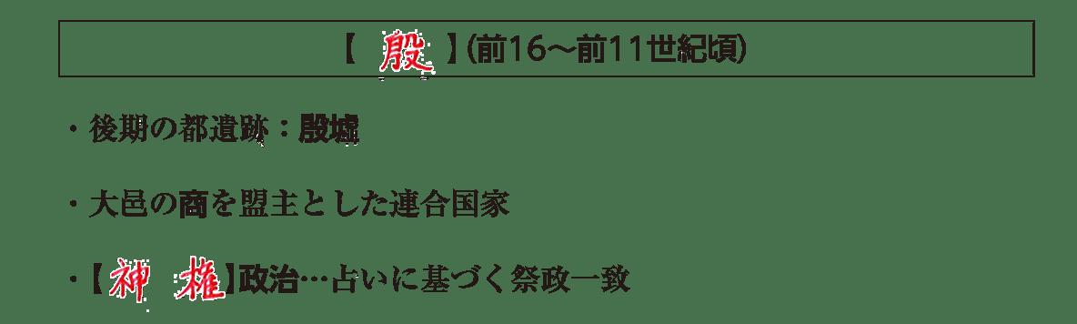 高校世界史 中国の古典文明2 ポイント2後半/殷(神権政治の説明まで)/答え入り