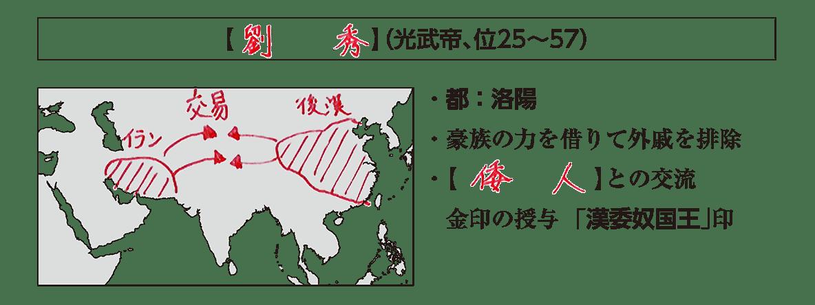 高校世界史 中国の古典文明5 ポイント2/劉秀(光武帝、位25~57)の項目/地図+テキスト/書き込みあり