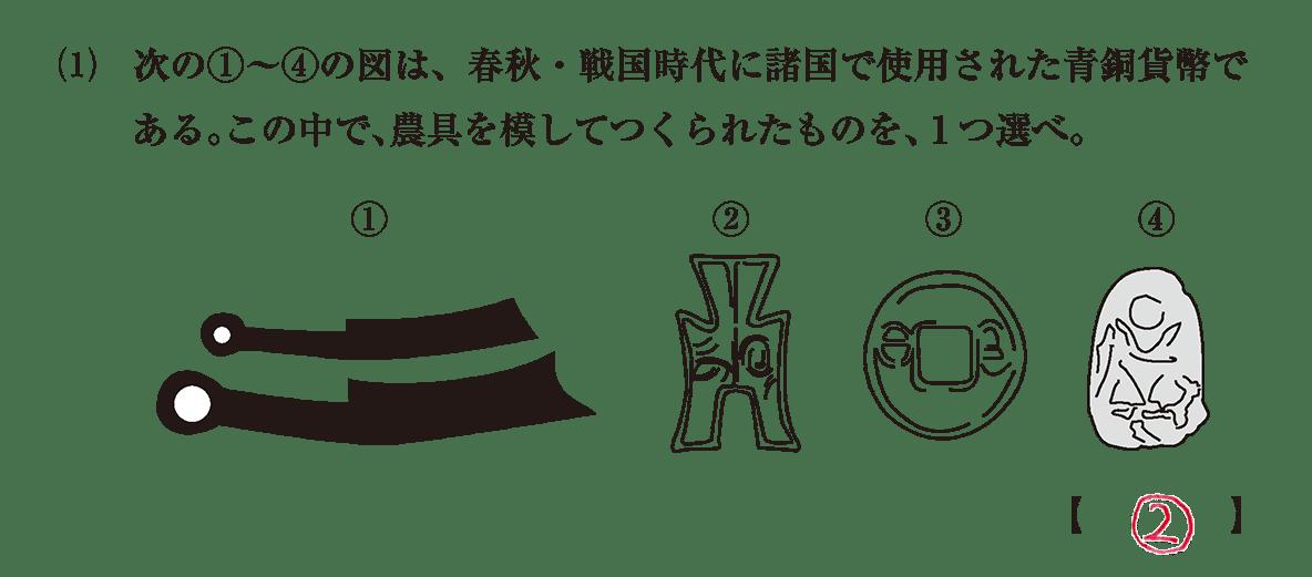 高校世界史 中国の古典文明7 問題3(1)答えアリ