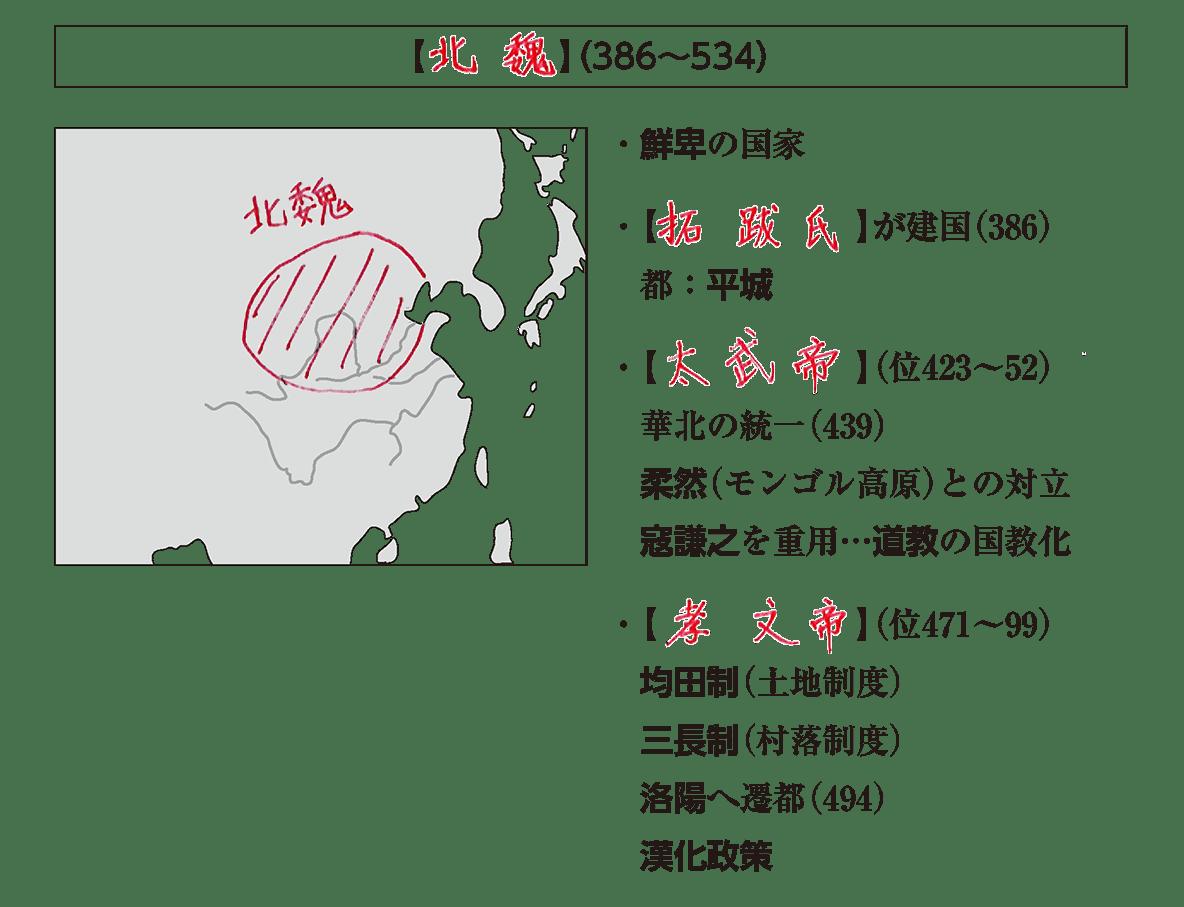 高校世界史 中国の分裂・混乱期2 ポ1前半/北魏の項目/答え入り