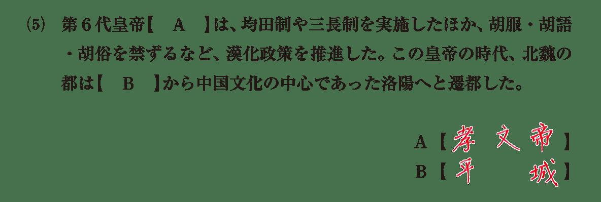 高校世界史 中国の分裂・混乱期4 問題1(5)答えアリ