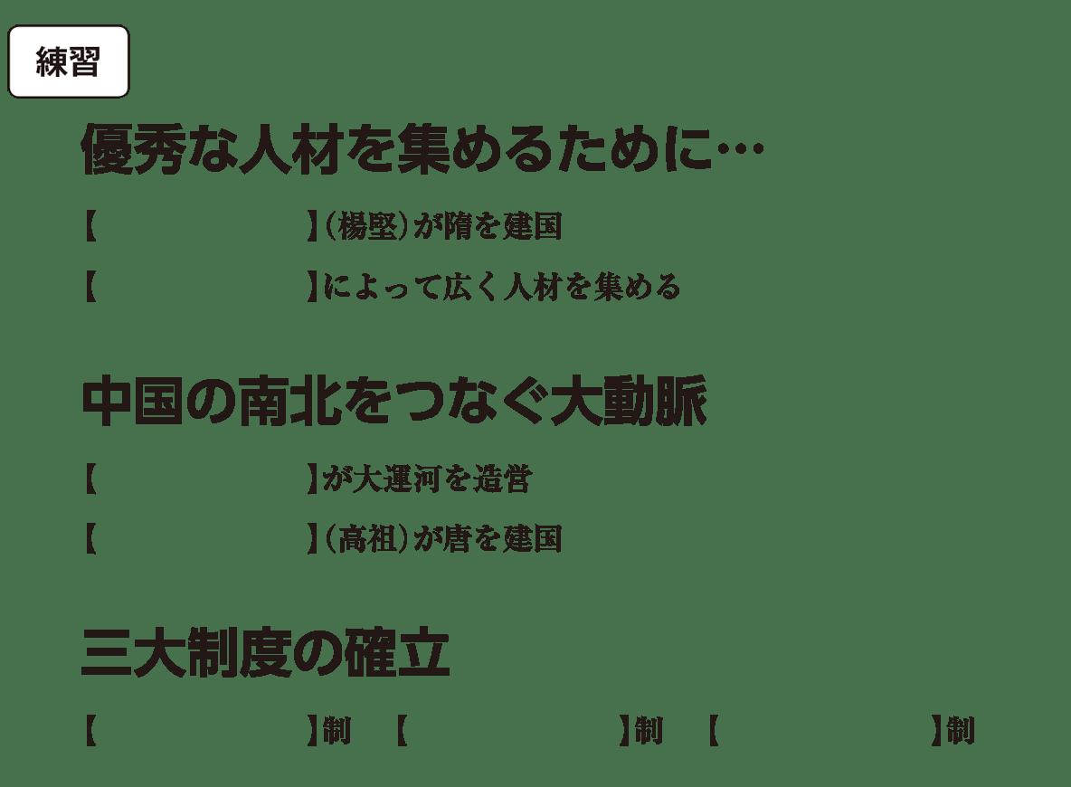 高校世界史 東アジア文明圏の形成(隋・唐)1 練習 括弧空欄
