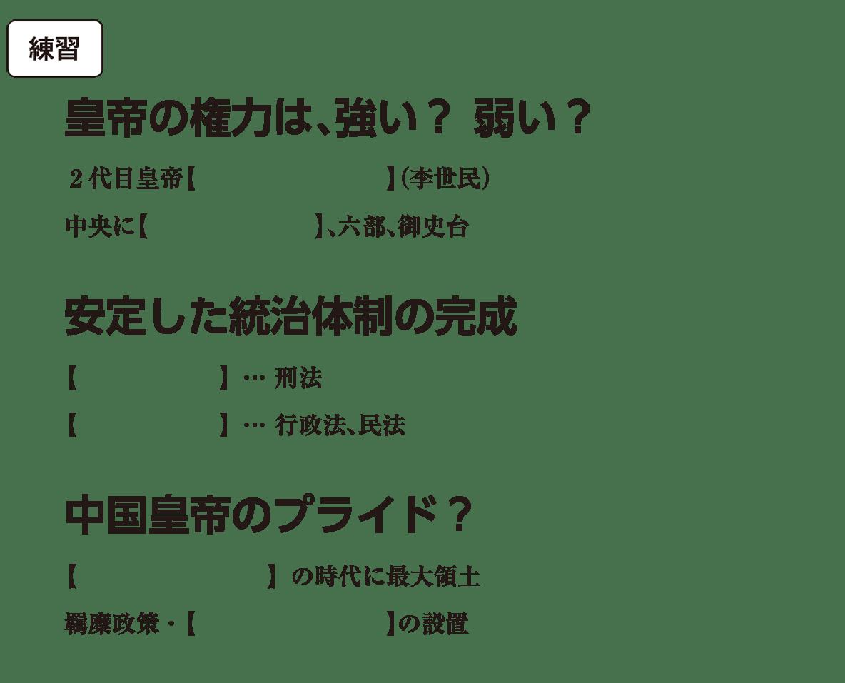 高校世界史 東アジア文明圏の形成(隋・唐)2 練習 括弧空欄